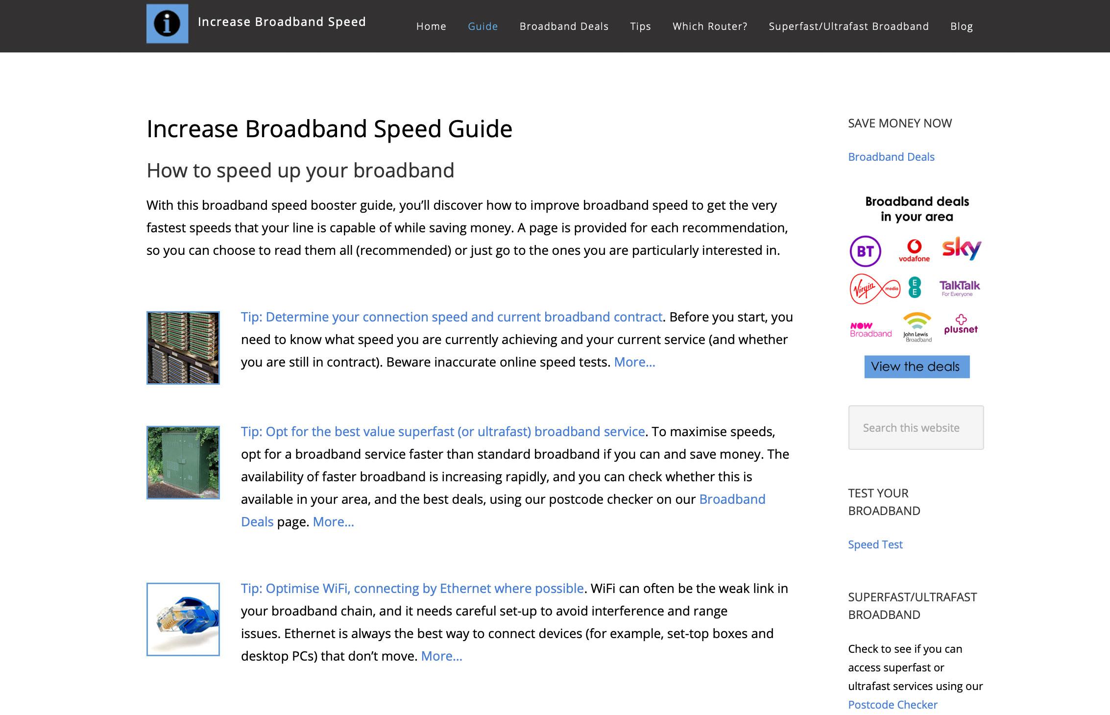 Increase Broadband Speed webpage