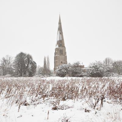 Snow on church